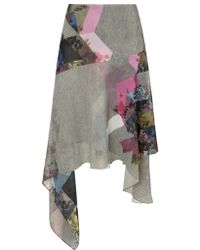 Preen Grey Marl Silk Blush Skirt - Lyst