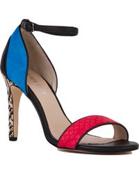 Chelsea Crew - Janine Red Turquoise Woven Heel Sandals - Lyst