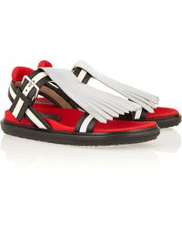 Marni Convertible Fringed Leather Sandals - Lyst