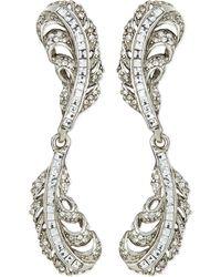 Oscar de la Renta Crystal Double-Feather Earrings - Lyst