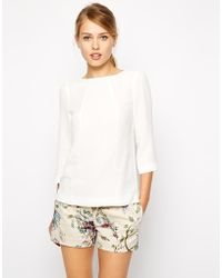 Oasis Woven Boat Neck Top - Lyst