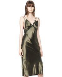 Alexander Wang   green Satin Slip Dress   Lyst