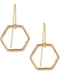 Tory Burch Hexagon Gold-Plated Drop Earrings - Lyst