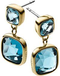 Michael Kors Blue Stone Double Drop Earrings - Lyst