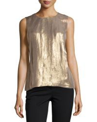 Halston Heritage Sleeveless Pleated Shimmer Top - Lyst