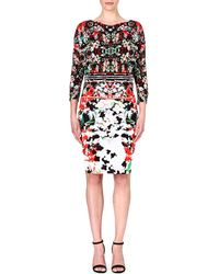 Roberto Cavalli Floralprint Crepe Dress Multi - Lyst