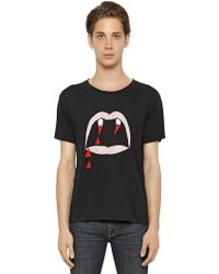 Saint Laurent Vampire Printed Cotton T-shirt - Lyst