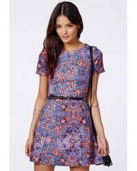 Missguided Cady Skater Dress Blue Print - Lyst
