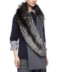 Michael Kors - Fox-fur & Check-print Scarf - Lyst
