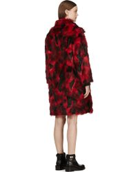 Jay Ahr - Red and Black Faux_fur Overcoat - Lyst