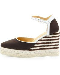 Carolina Herrera Canvas Stripedwedge Espadrille Smoky Umberivory - Lyst