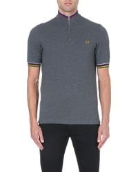 Fred Perry Bradley Champion Tipped Polo Shirt Graphite Marl - Lyst