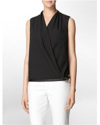 Calvin Klein White Label Faux Leather Trim V-Neck Sleeveless Top - Lyst