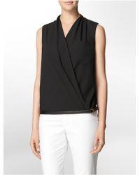 Calvin Klein White Label Faux Leather Trim V-Neck Sleeveless Top - Lyst