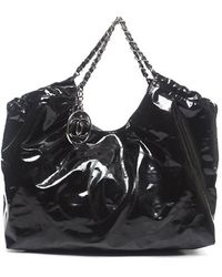 Chanel Pre-Owned Black Vinyl Xl Coco Cabas Bag - Lyst