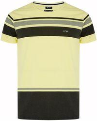 Armani Jeans Striped Colour Block T-Shirt - Lyst