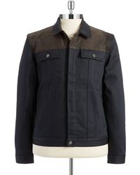 7 For All Mankind Leather Accented Trucker Jacket - Lyst