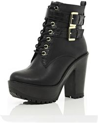 River Island Black Lace Up Cleated Sole Platform Boots - Lyst