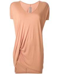 Rick Owens Pink Draped T-Shirt - Lyst
