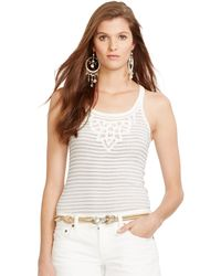 Polo Ralph Lauren Lace-Trim Striped Cotton Tank - Lyst