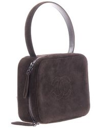 Chanel   Pre-owned: Brown Suede Cc Logo Purse   Lyst