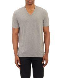 John Varvatos Variegated-Stripe Slub V-Neck T-Shirt gray - Lyst