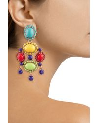 Oscar de la Renta Rose Gold-Plated Cabochon Clip Earrings - Lyst