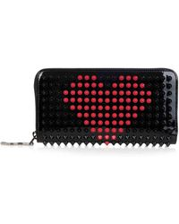 Christian Louboutin Panettone Spikes Leather Wallet black - Lyst