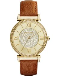 Michael Kors Women'S Catlin Luggage Leather Strap Watch 38Mm Mk2375 - Lyst
