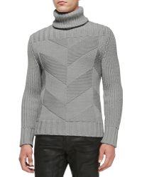 Belstaff Maxford Chunky Chevron-knit Sweater - Lyst