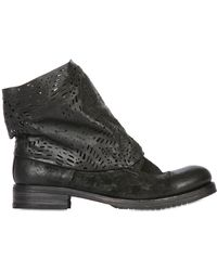 Ink Shoes 30Mm Laser Cut Leather Ankle Boots - Lyst