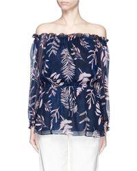 Diane von Furstenberg | 'camila' Leaf Print Chiffon Off-shoulder Blouse | Lyst