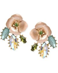 Betsey Johnson Gold-Tone Flower And Faceted Bead Drop Earrings gold - Lyst