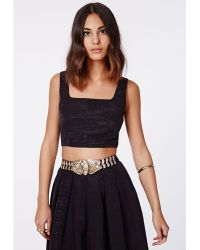 Missguided Danya Satin Square Neck Crop Top - Lyst