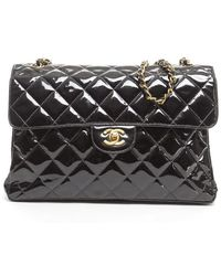 Chanel Preowned Black Patent Leather Double Sided Jumbo Flap - Lyst
