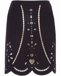 Moschino Cheap & Chic Black Broiderie Anglais Skirt - Lyst