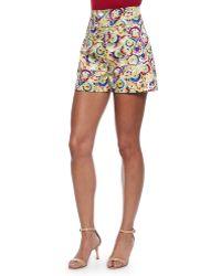 Carolina Herrera High-Waisted Parasol-Print Shorts - Lyst