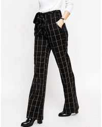 ASOS | Wide Leg Trousers In Mono Grid Check With Obi Tie | Lyst