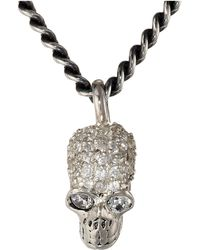 King Baby Studio Small Skull Pendant Pave Cz Necklace - Lyst