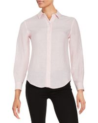 Lord & Taylor - Petite Linen Blouse - Lyst