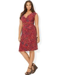 Lauren by Ralph Lauren Plus Jersey Faux-wrap Dress - Lyst