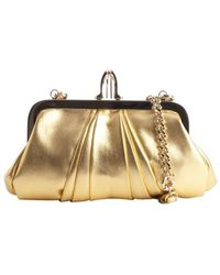 Christian Louboutin Gold Leather Lula Shoe Clasp Convertible Clutch - Lyst