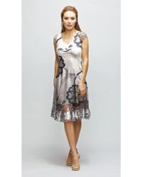 Komarov Cap Sleeve Printed Dress - Lyst