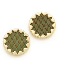 House Of Harlow Sunburst Button Earrings Olive - Lyst