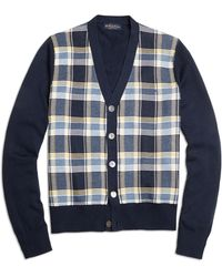 Brooks Brothers Plaid Button-front Cardigan - Lyst