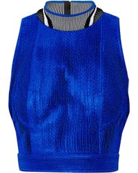 Alexander Wang Cropped Pleated Mesh Top - Lyst