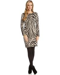 Karen Kane Faux Leather Panel Zebra Dress - Lyst