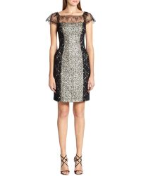 Kay Unger Mixedmedia Lace Sheath Dress - Lyst