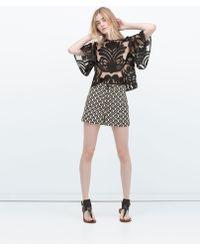 Zara High Waist Printed Shorts black - Lyst