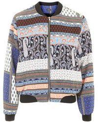 Topshop Scarf Print Bomber Jacket multicolor - Lyst
